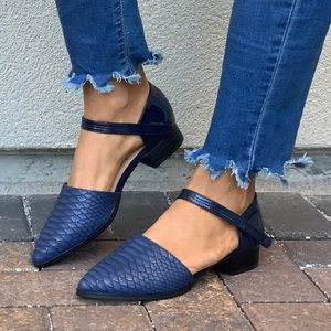 Navy Snake Embossed Pointy Toe Mary Jane Loafer